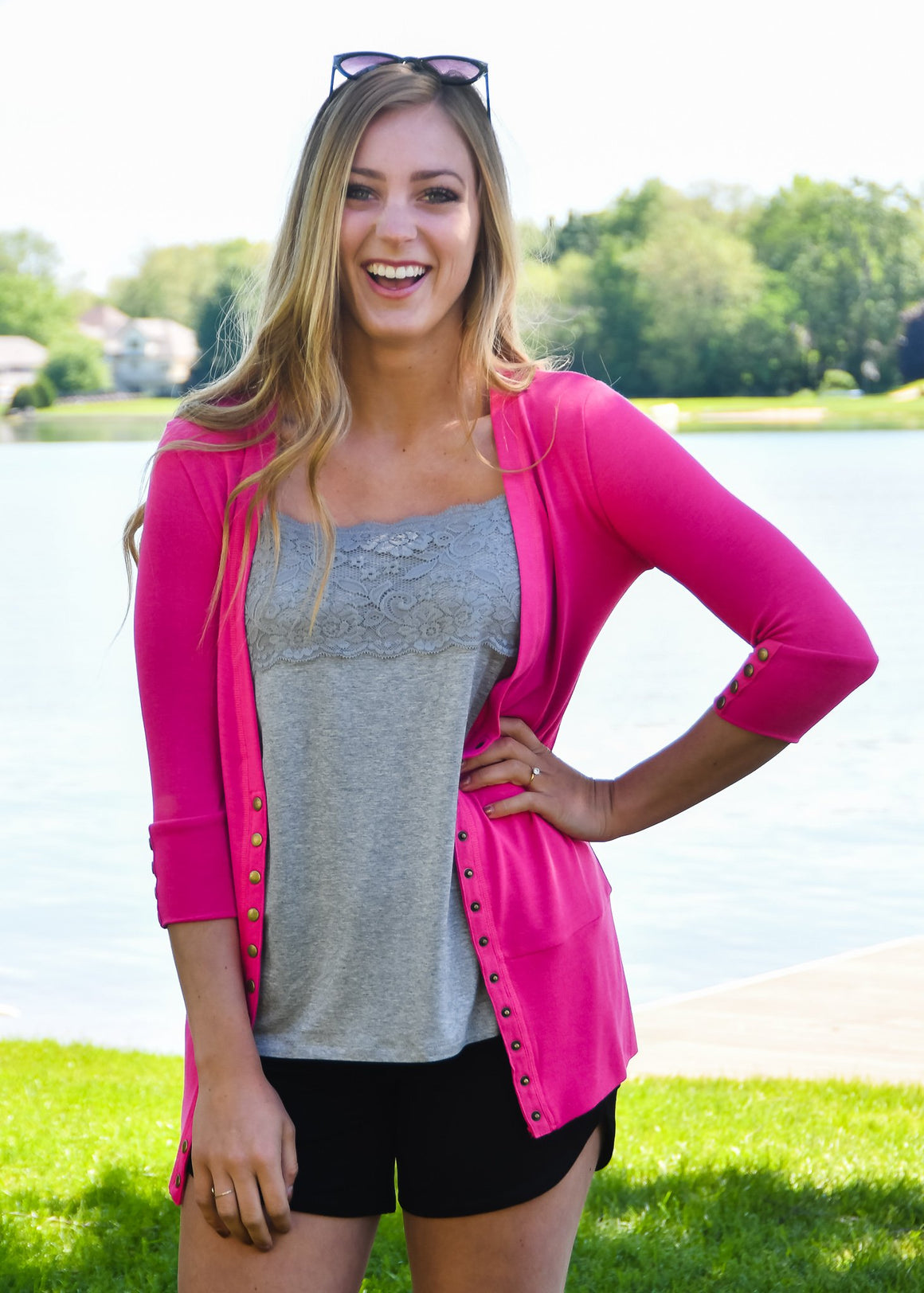 3/4 Fuchsia Snap Cardigan - Warehouse Apparel