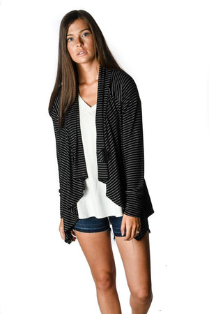 Black and White Stripe Flyaway Cardigan - Warehouse Apparel