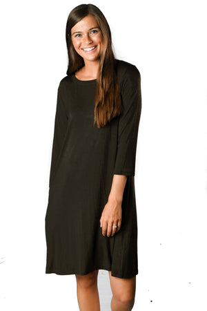 3/4 Sleeve Black Pocket Tunic Dress - Warehouse Apparel
