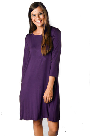 3/4 Sleeve Deep Plum Pocket Tunic Dress - Warehouse Apparel