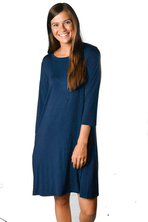 3/4 Sleeve Navy Pocket Tunic Dress - Warehouse Apparel
