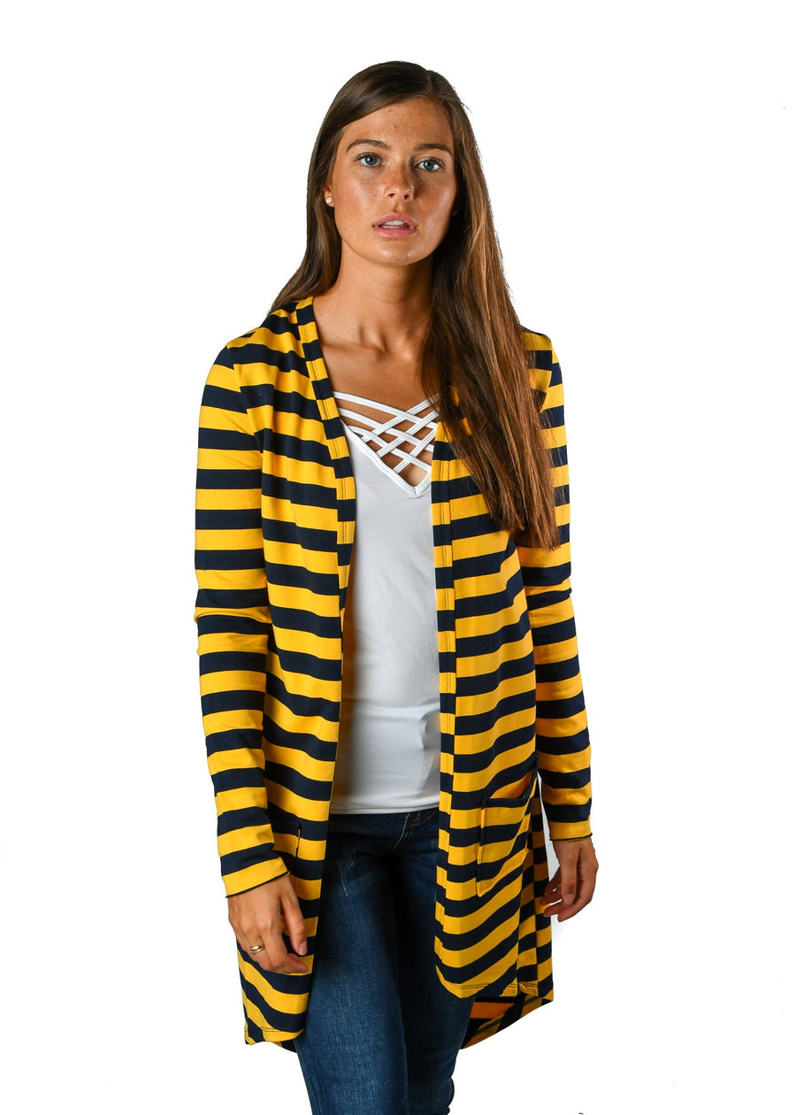 French Terry Navy & Yellow Stripe Favorite Cardigan