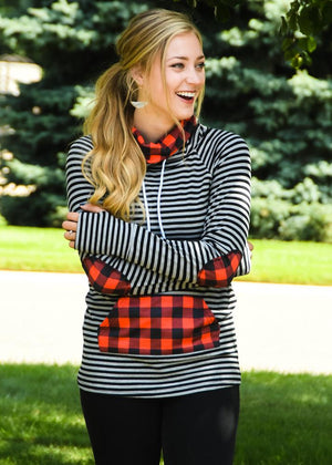 GRAY Buffalo Plaid Funnel Neck