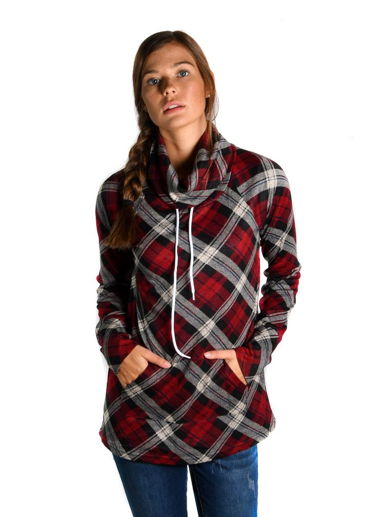 Deep Red Plaid Sweater Funnel Neck - Warehouse Apparel