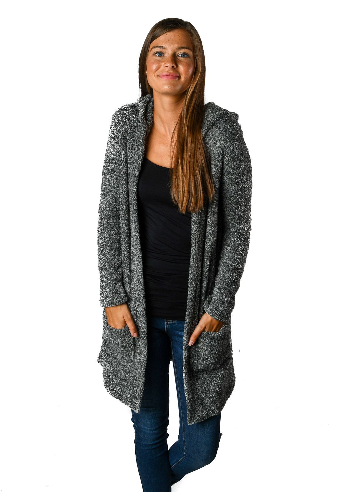 Hooded Gray Favorite Fleece Cardigan