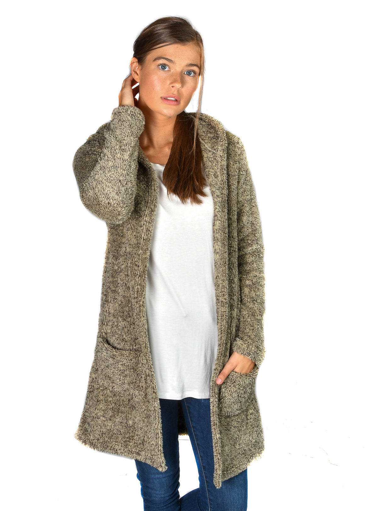 Hooded Oatmeal Raisin Favorite Fleece Cardigan
