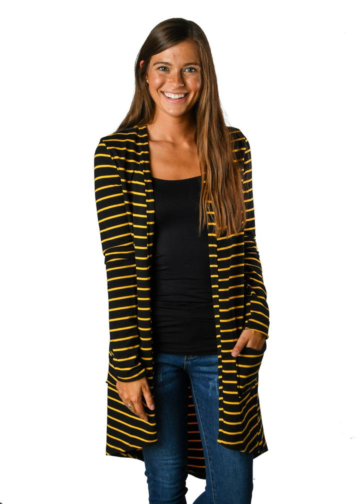 French Terry Black & Gold Stripe Favorite Cardigan - Warehouse Apparel