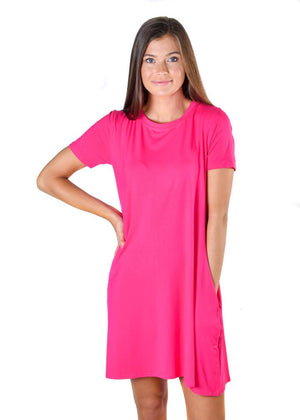 Fuchsia Pocket Tunic Dress - Warehouse Apparel