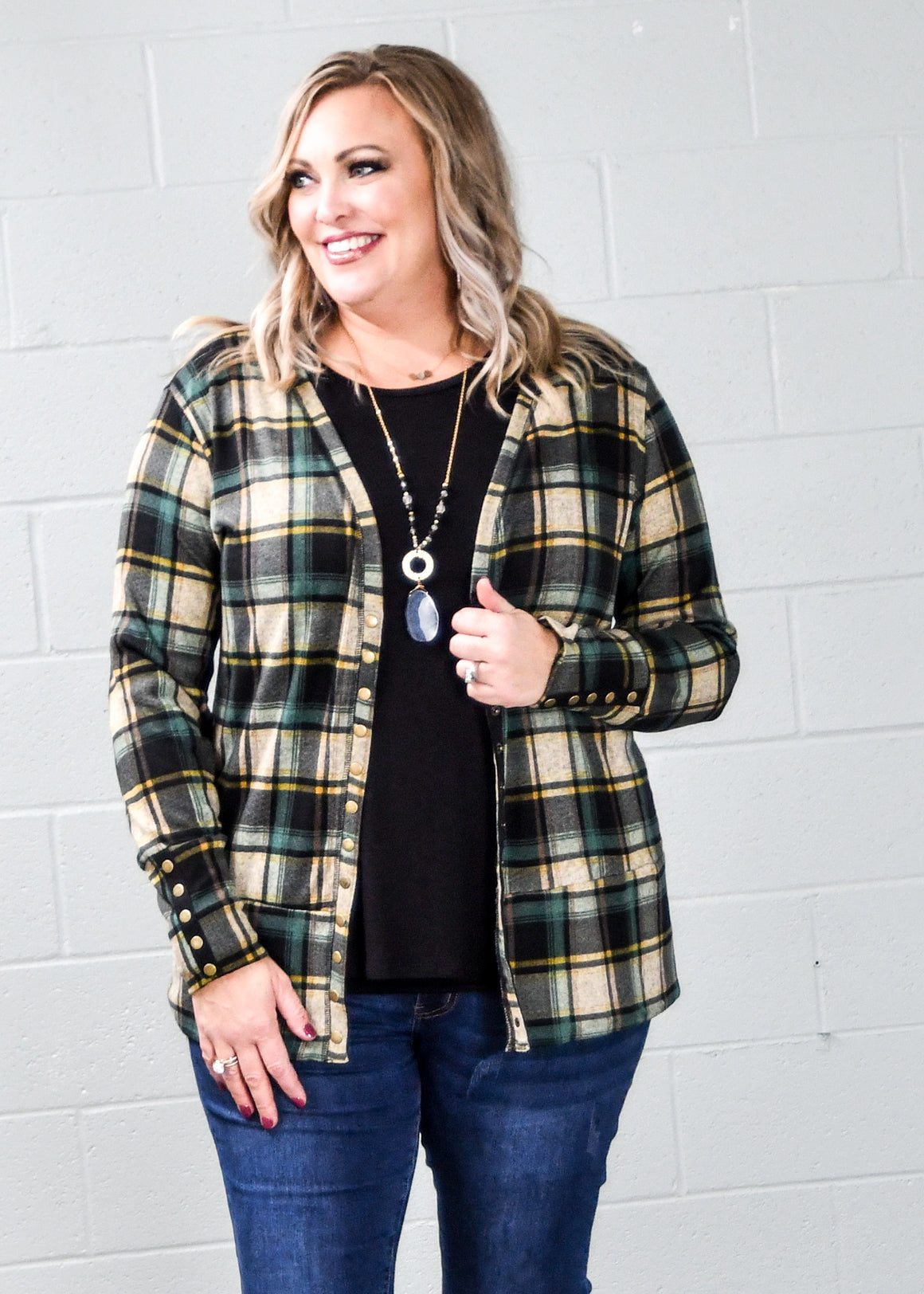 Green & Mustard Plaid Snap Cardigan