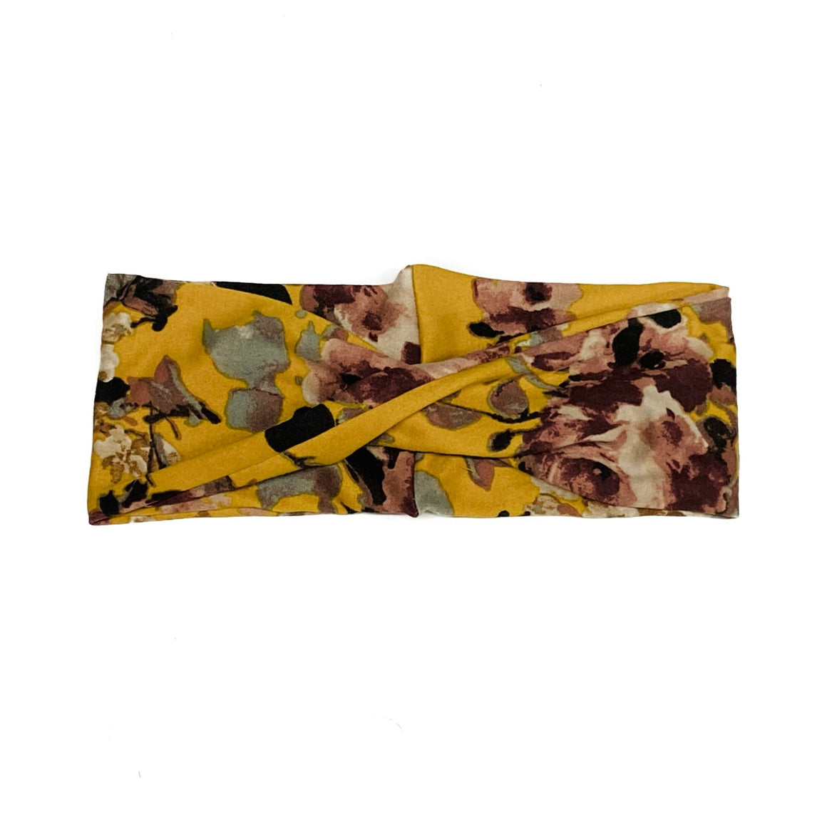 Mustard Floral Medium Twist Headband