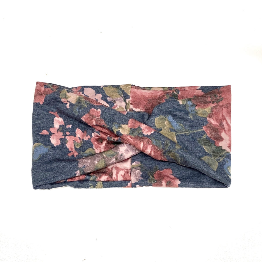 Denim Floral Wide Headband