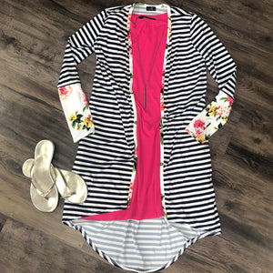 White/Navy Stripe Cardigan with White Floral Trim