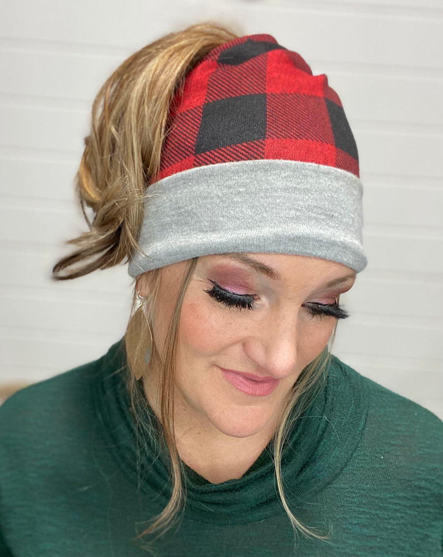 Buffalo Plaid Slouchy Bun Beanie