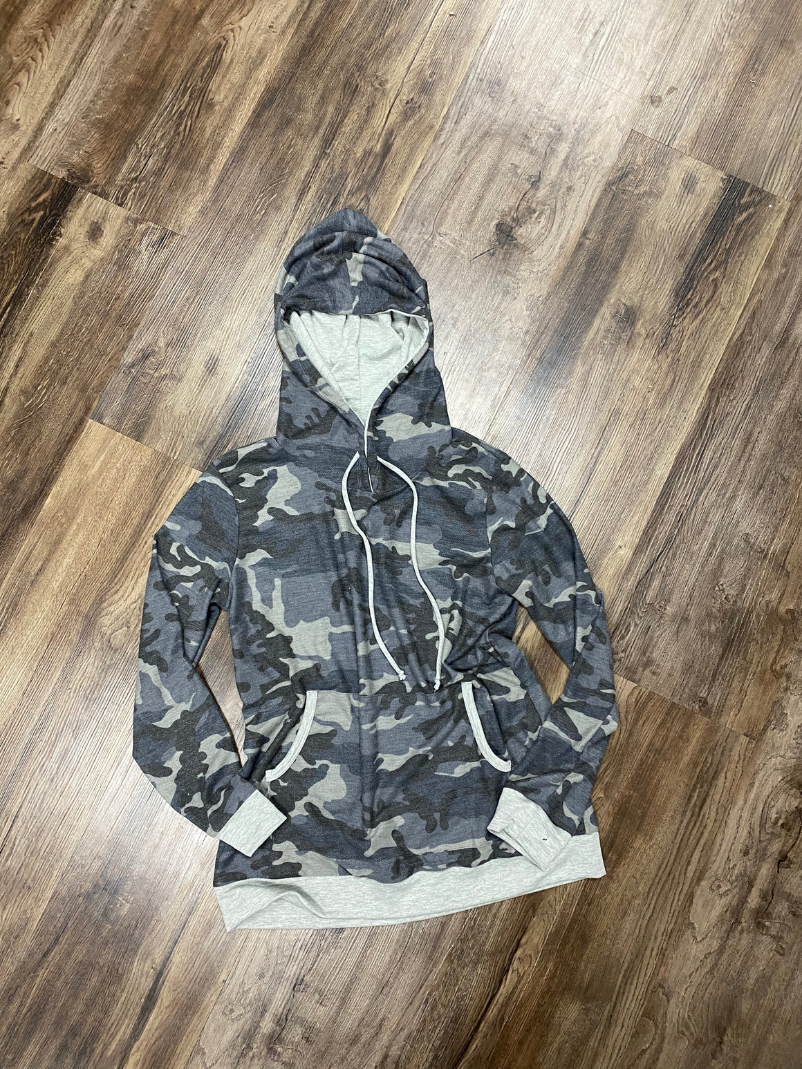 Camo Hoodie With Gray Trim