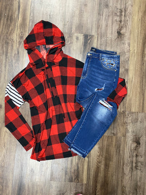 Buffalo Plaid Hoodie with Striped Contrast