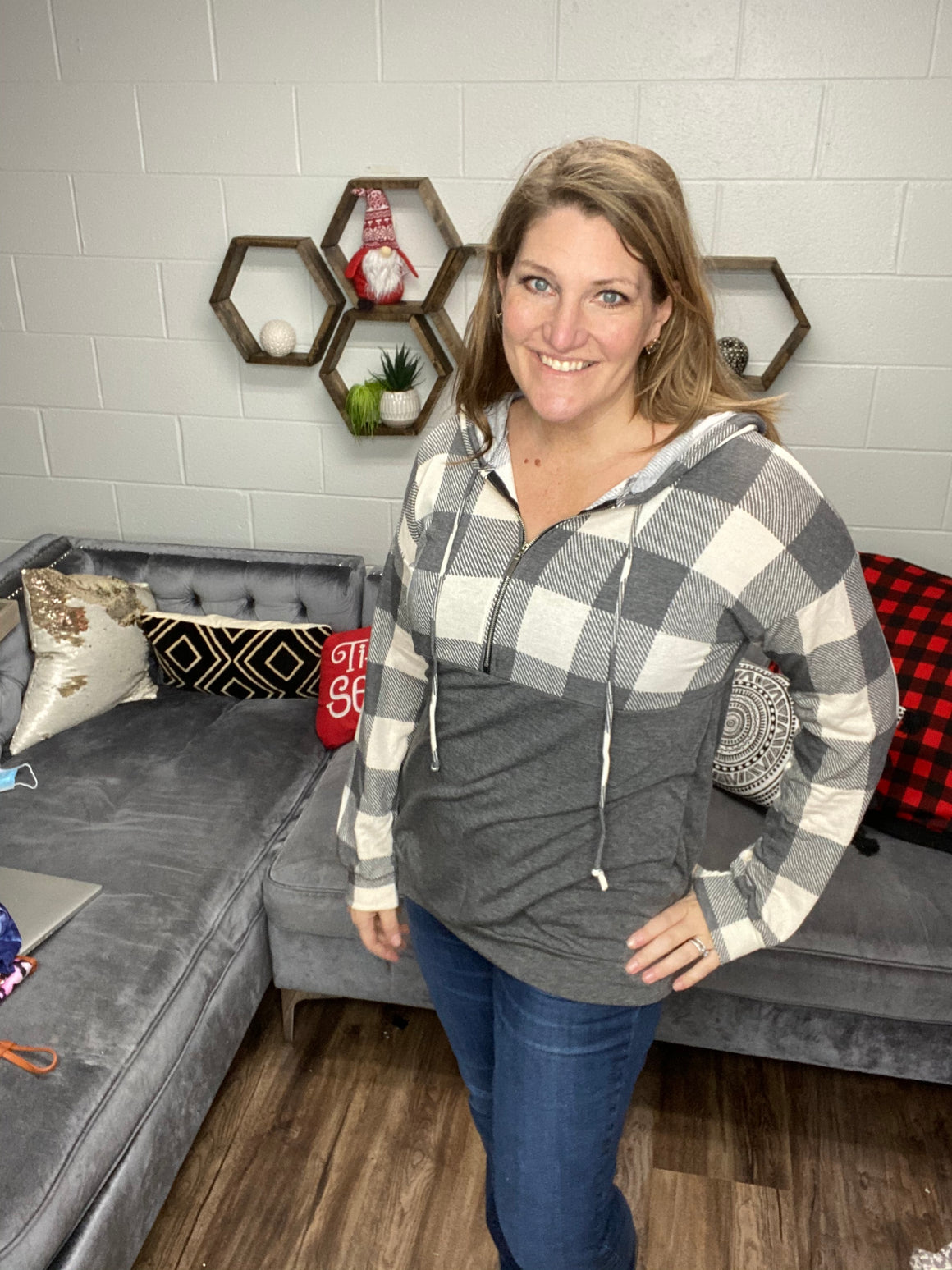 Buffalo Plaid Quarter Zip Top