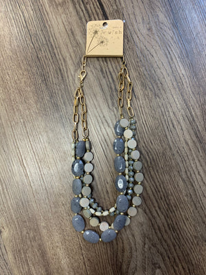 Multi Strand Gray and Taupe Necklace