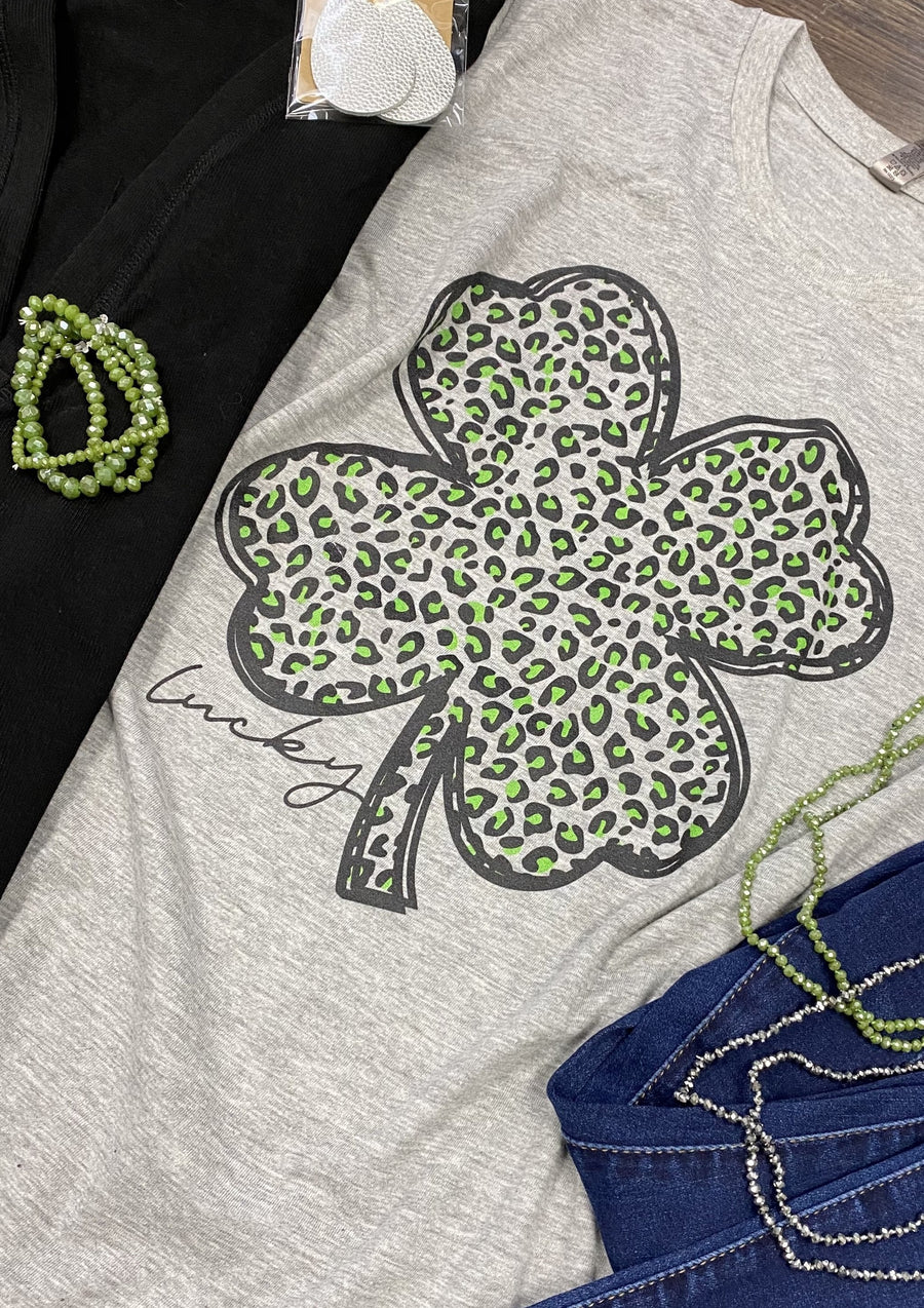 Lucky Leopard Clover Graphic Tee