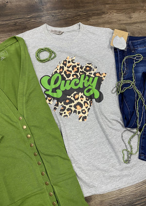 Lucky Leopard Print Graphic Tee