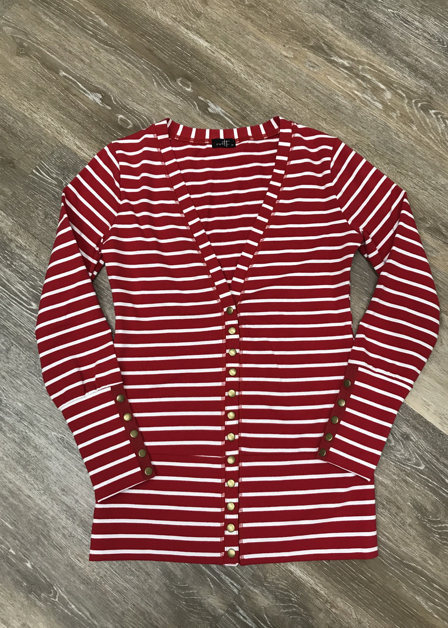 Red & White Snap Cardigan