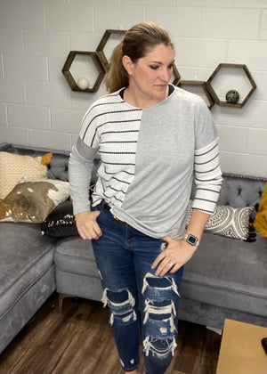 Gray Dolman with Black and White Stripe Contrast