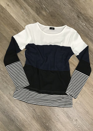 Blue Striped Colorblock Waffle Top
