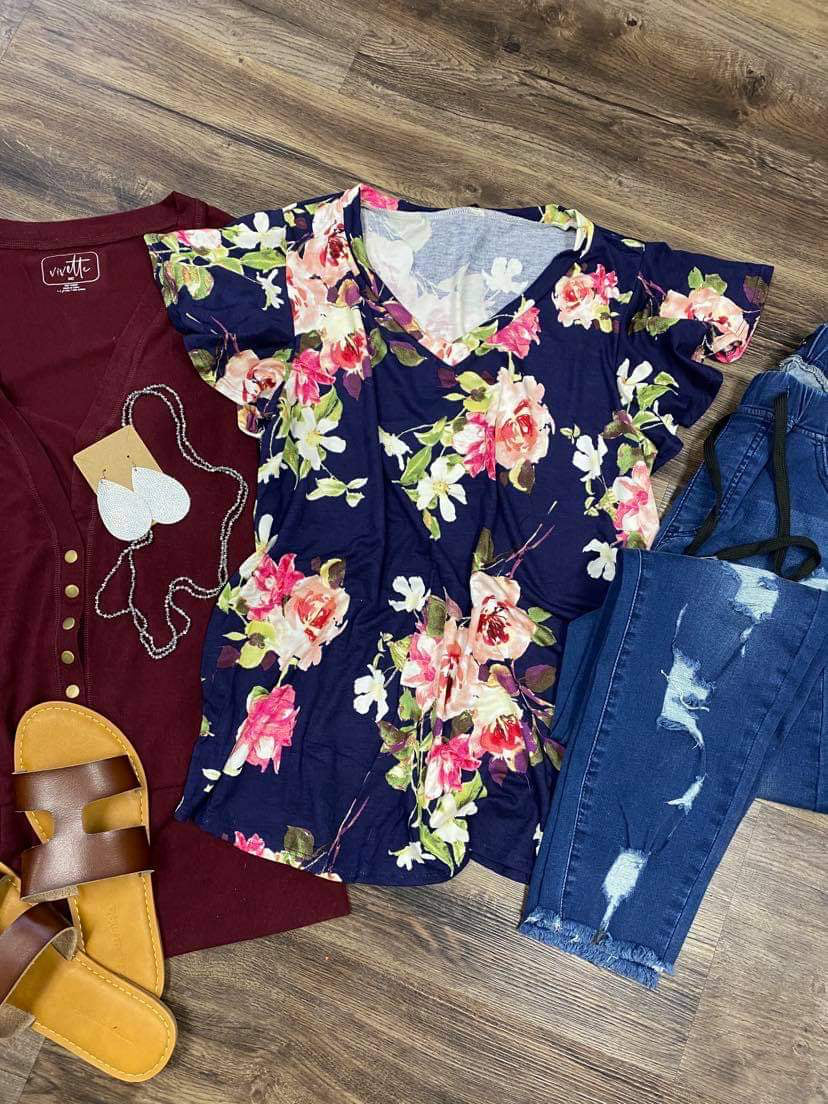 Navy Floral Ruffle Sleeve V-Neck Top