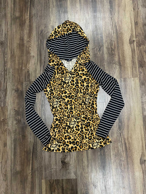 Leopard with Stripe Lightweight Raglan Hoodie
