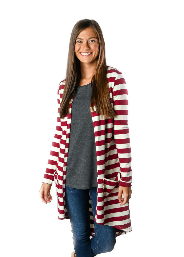 French Terry Maroon Stripe Favorite Cardigan - Black Friday Steal! - Warehouse Apparel