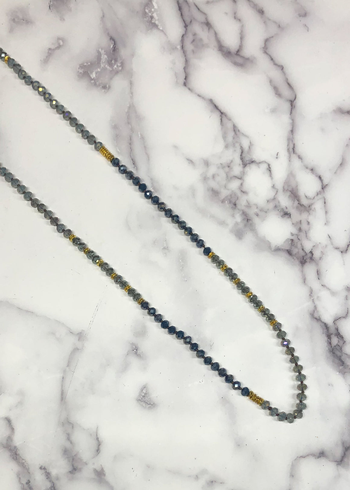 Glass Bead Necklace-Navy/Clear