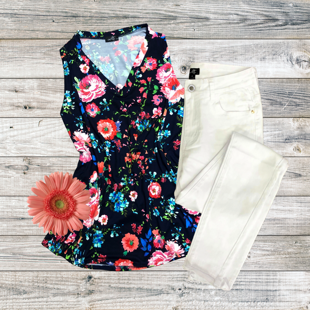 Navy Floral Tank