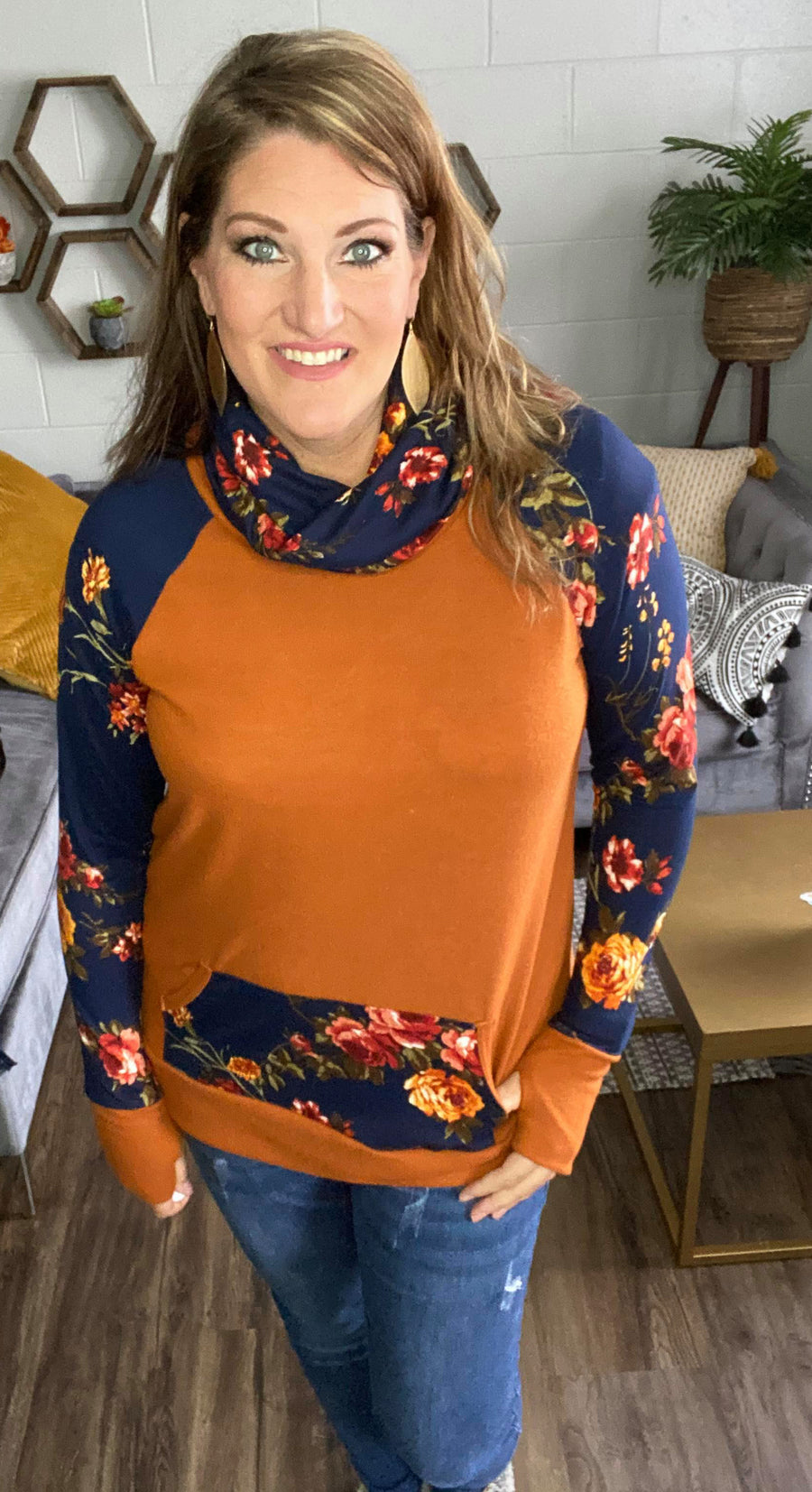 Copper and Floral Hacci Funnel Neck