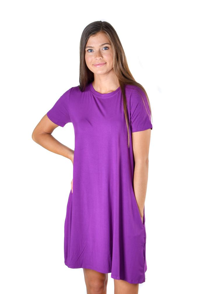 Plum Pocket Tunic Dress - Warehouse Apparel
