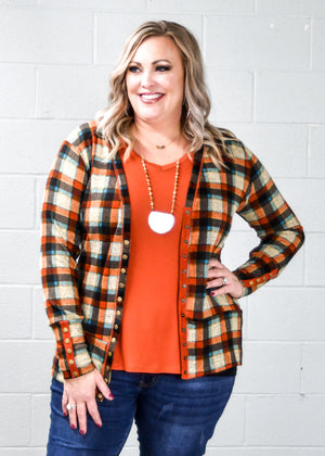 Rust Plaid Snap Cardigan