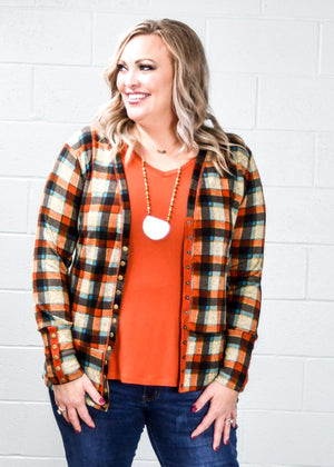 Rust Plaid Snap