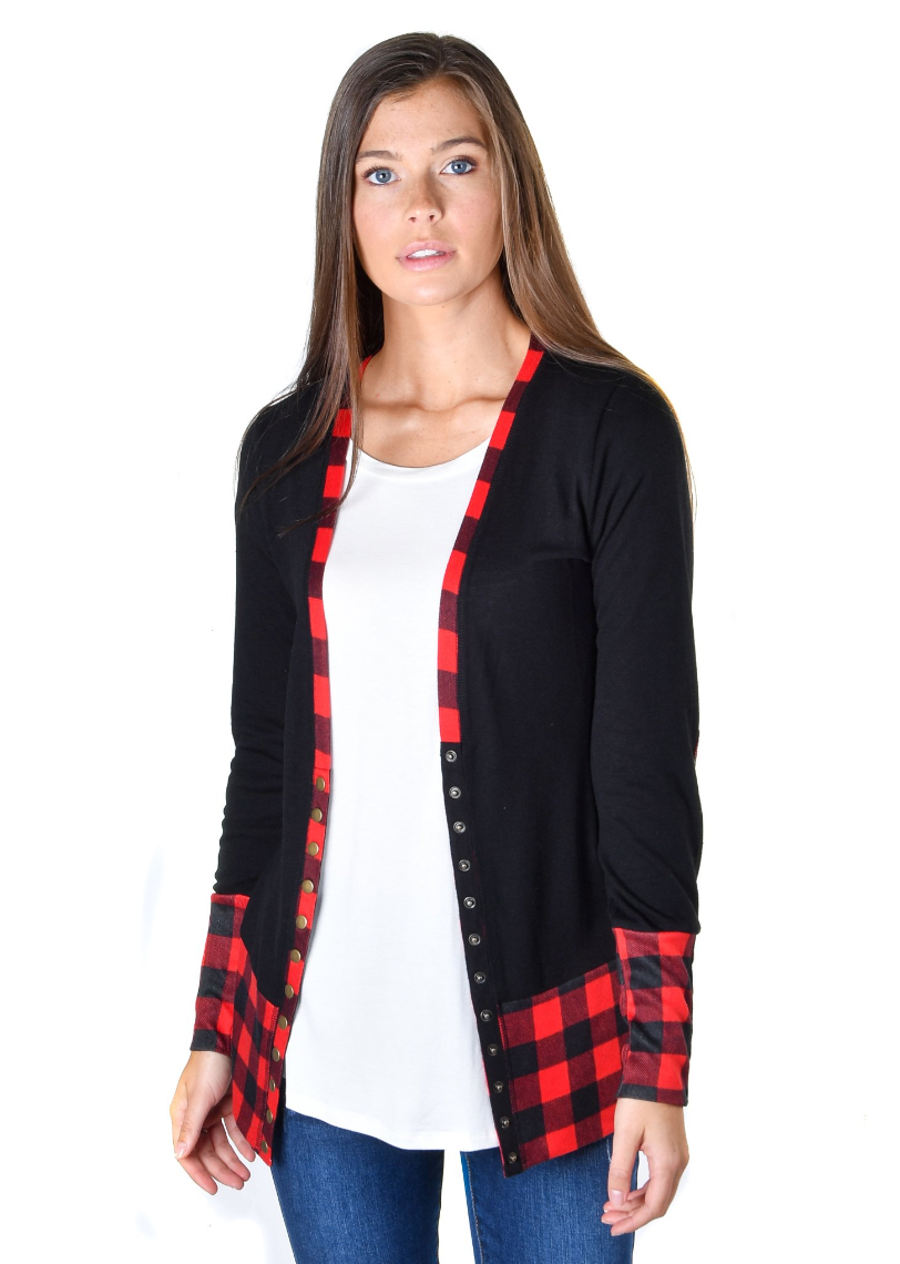 Red & Black Check Trim Snap Cardigan