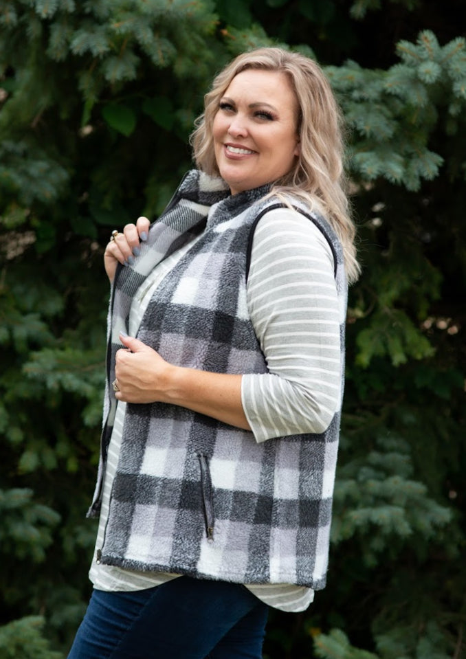 Plaid Berber fleece vest