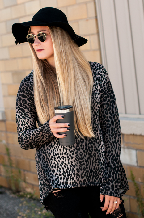 FINAL SALE Taupe Leopard A-Line Funnel Neck