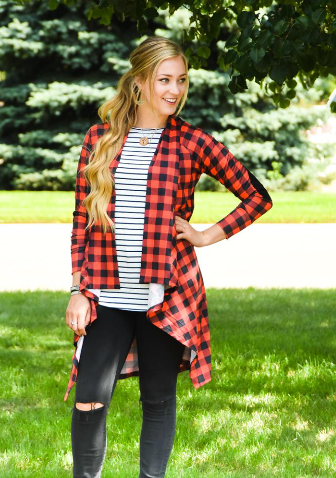 Buffalo Plaid Long Cardigan - Warehouse Apparel