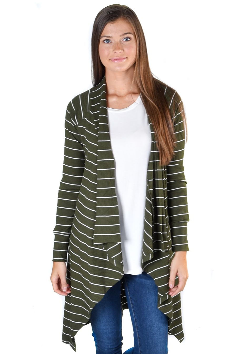 Olive Lux Stripe Cardigan - Warehouse Apparel