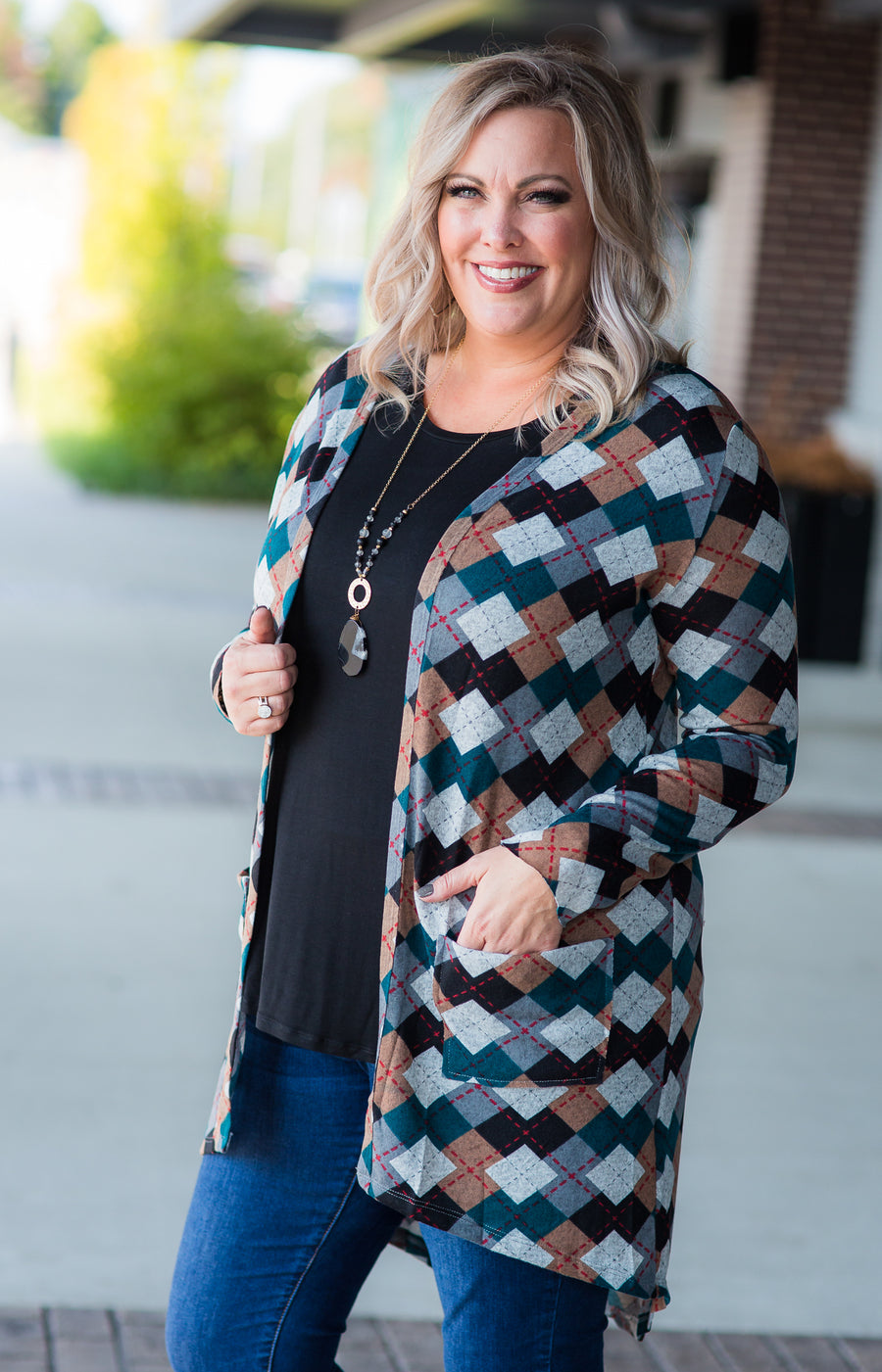 Teal Argyle Favorite Cardigan