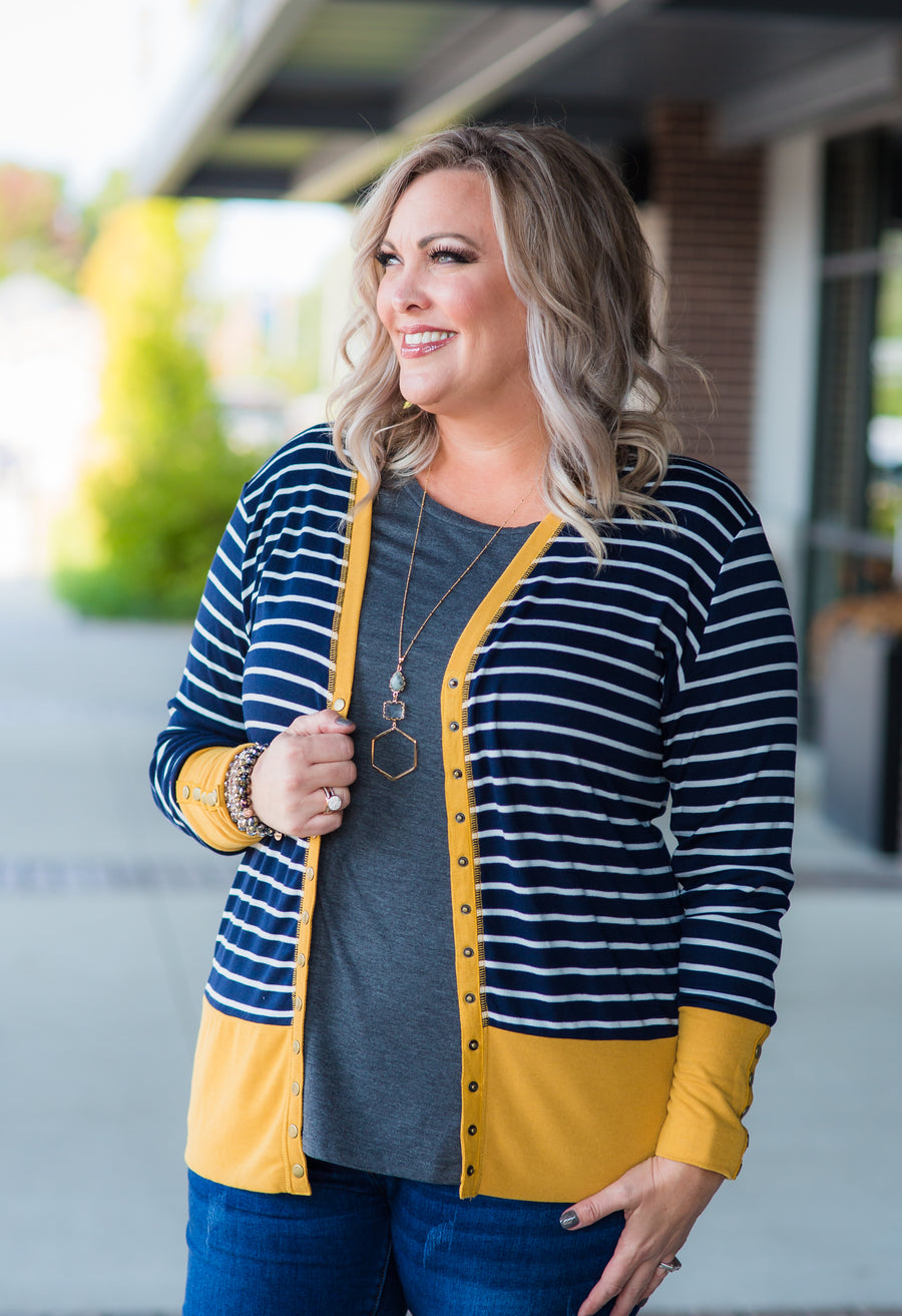 Navy Striped Snap Cardigan