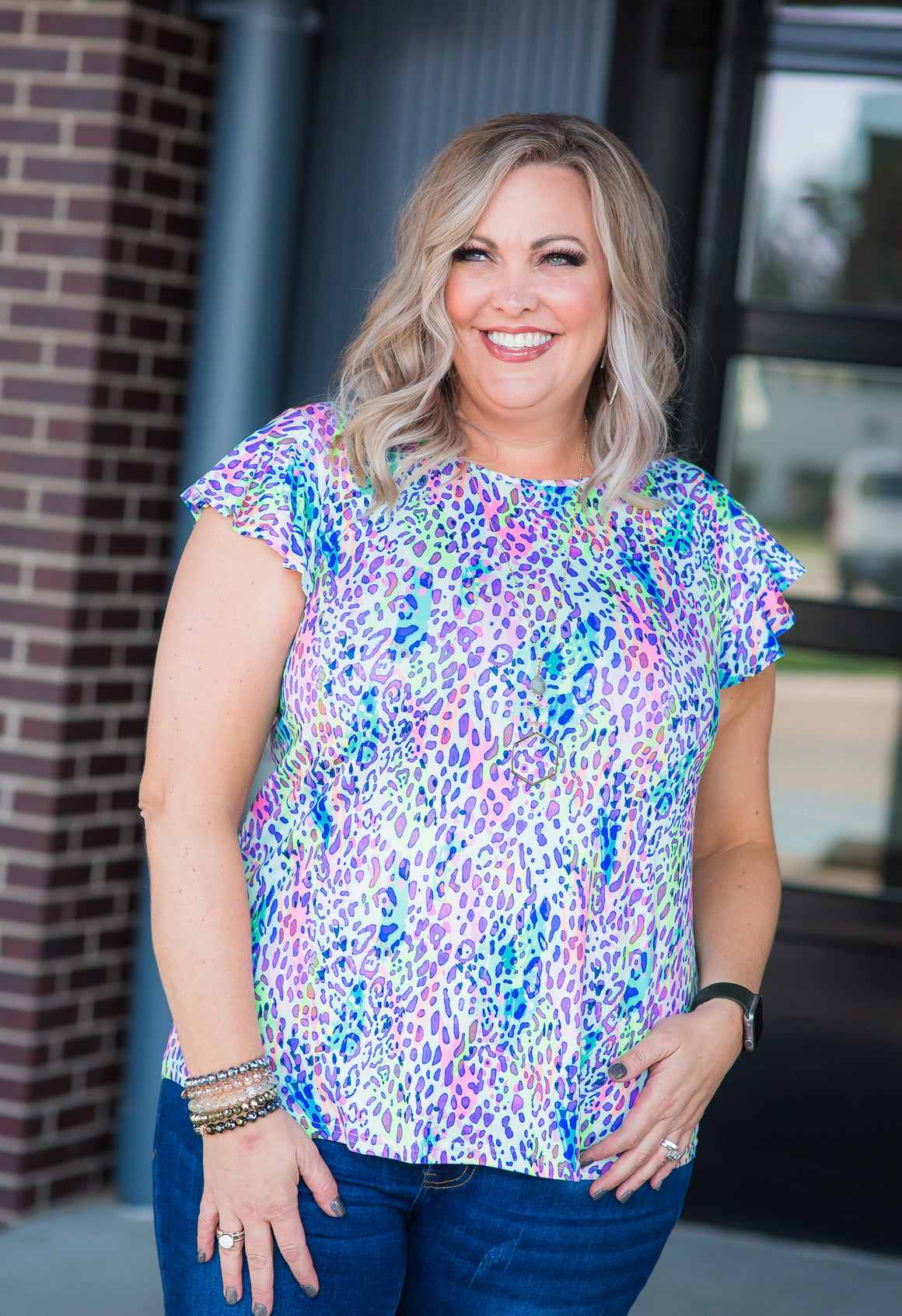 Ruffle Rainbow Cheetah Top
