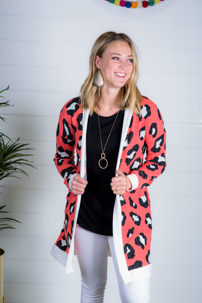 Coral Leopard Open Cardigan