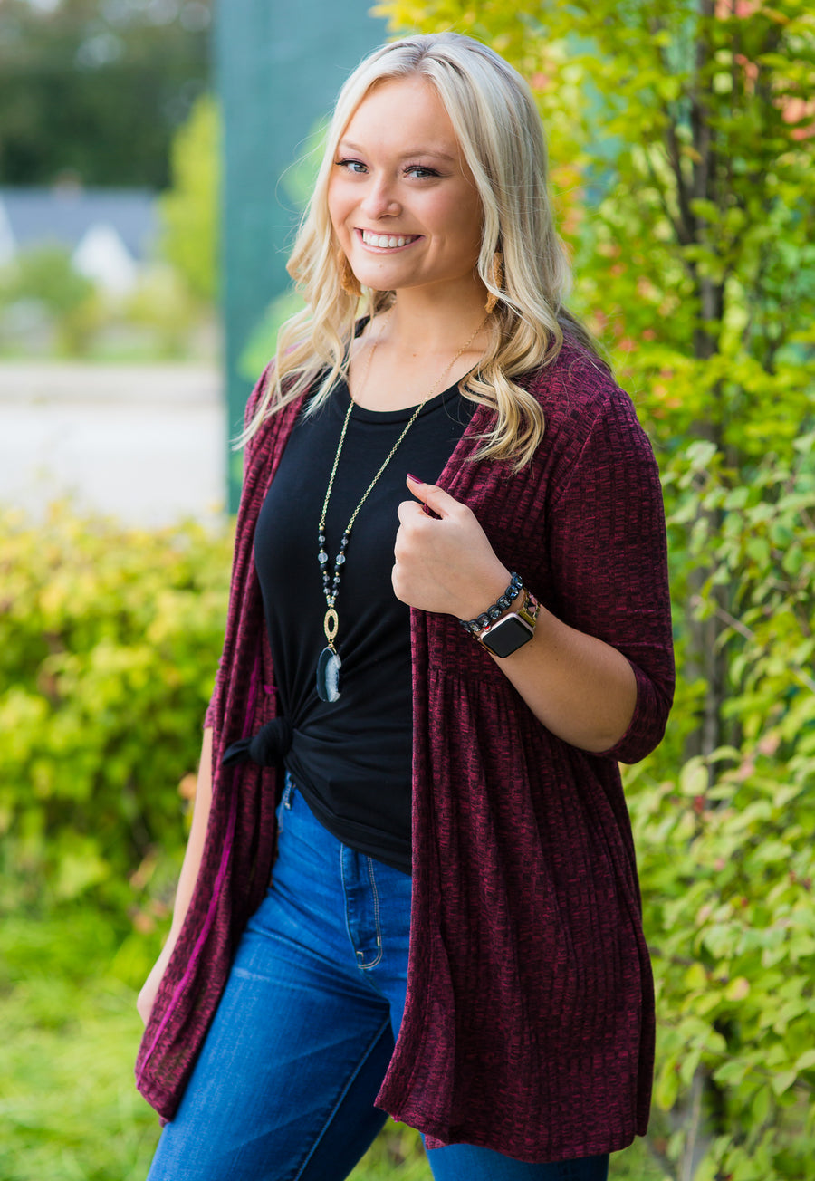Heathered Wine Ribbed Babydoll Cardigan