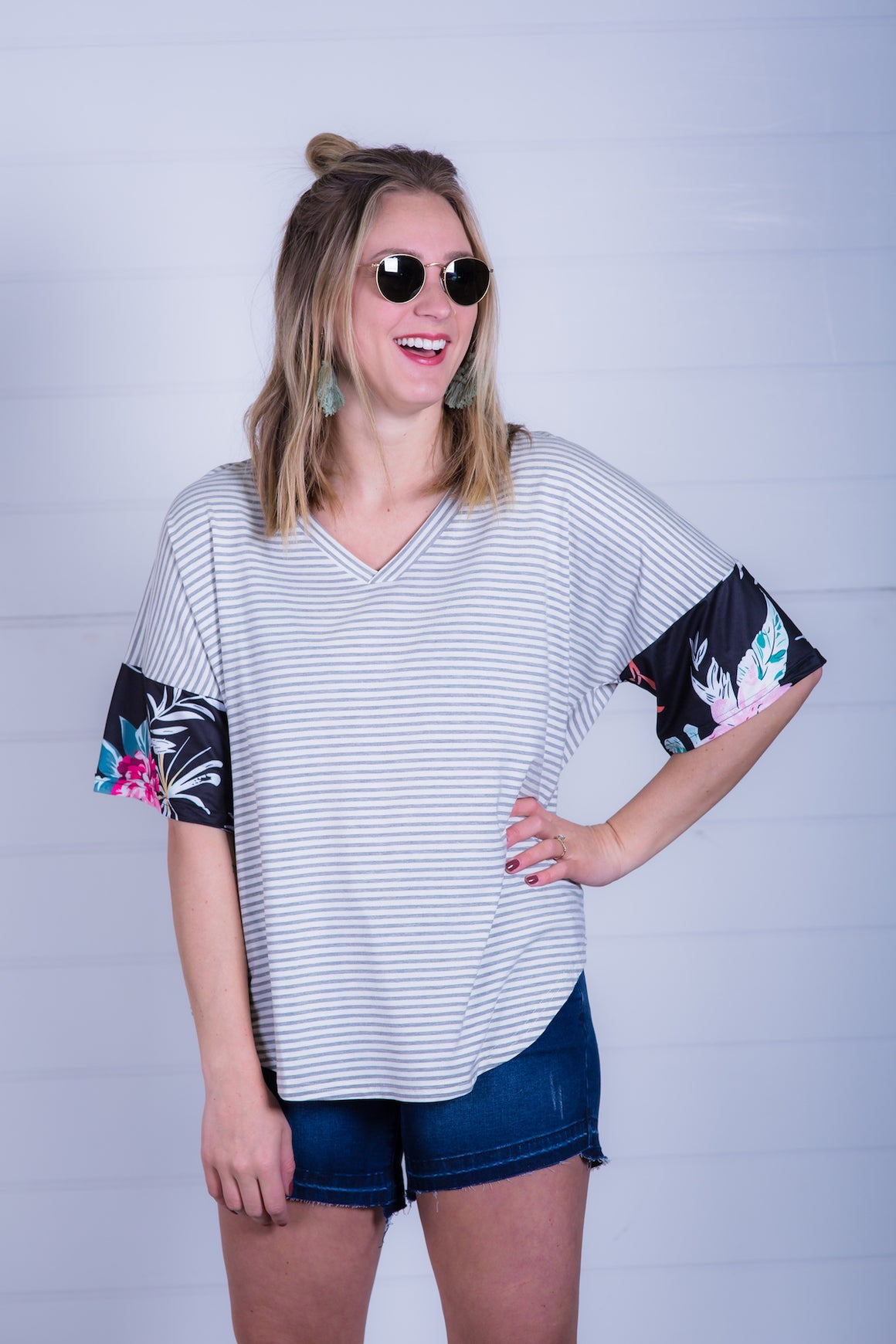 Gray Stripe Dolman with Floral Cuff
