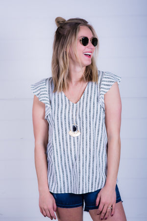 Woven Tank with Ruffle Sleeve