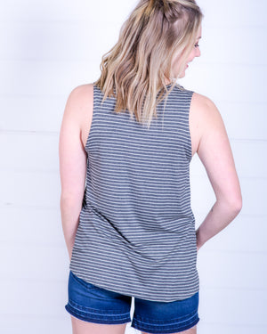 Charcoal and White Stripe Tank