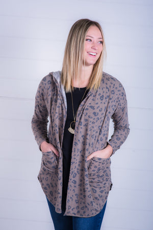 Taupe Leopard Hooded Open Cardigan
