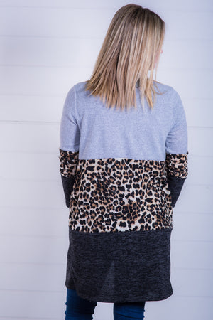 Colorblocked Leopard Open Cardigan